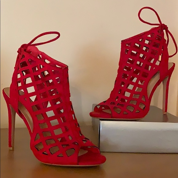 Shoes   Red Caged Sandals   Poshmark